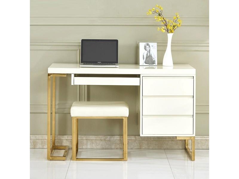Bureau design couleur blanc et or wendy