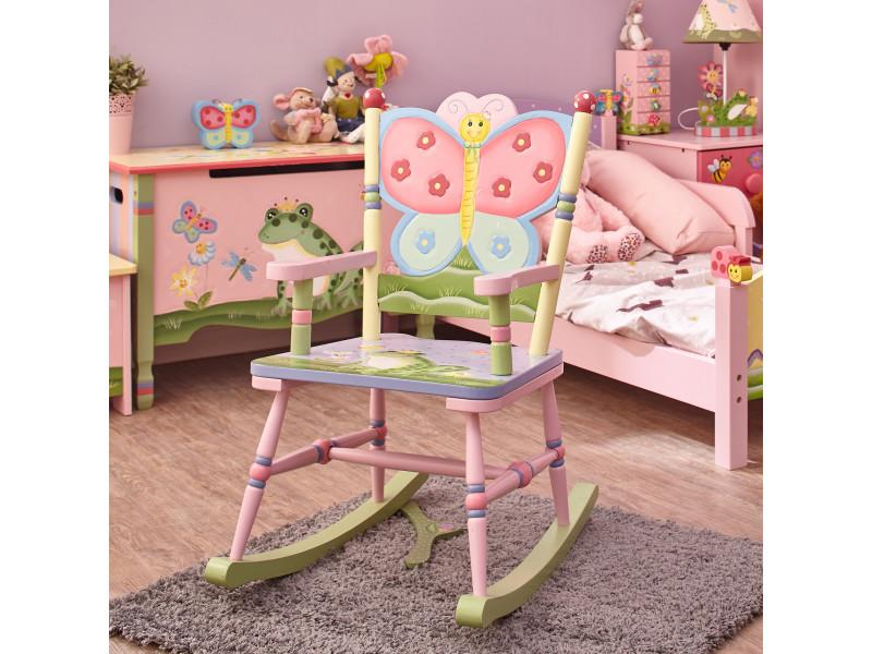 Chaise à Bascule Enfant Magic Garden Siège Bois Décor