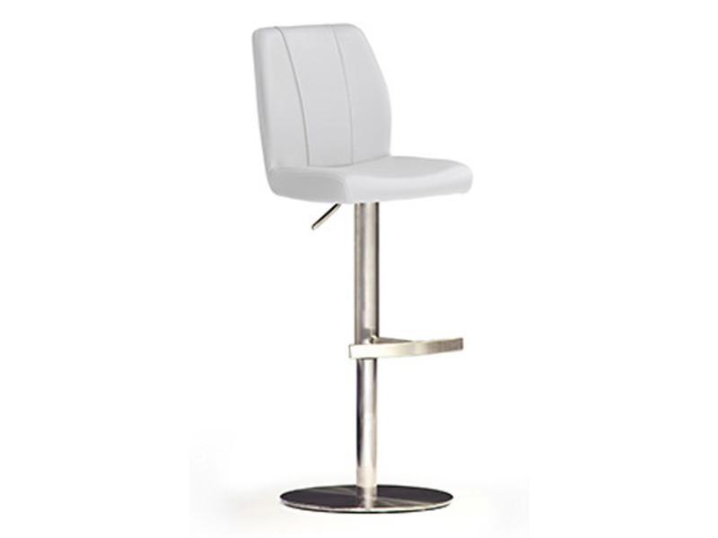 Tabouret de bar en pu socle rond en acier brossé coloris blanc rotation 360° - dim : h 89-114 x 42 x 52 cm -pegane-