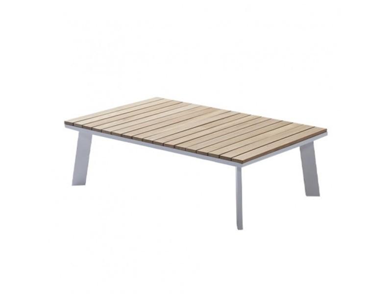 Table basse de jardin en aluminium blanc et bois de teck l110cm - nilo