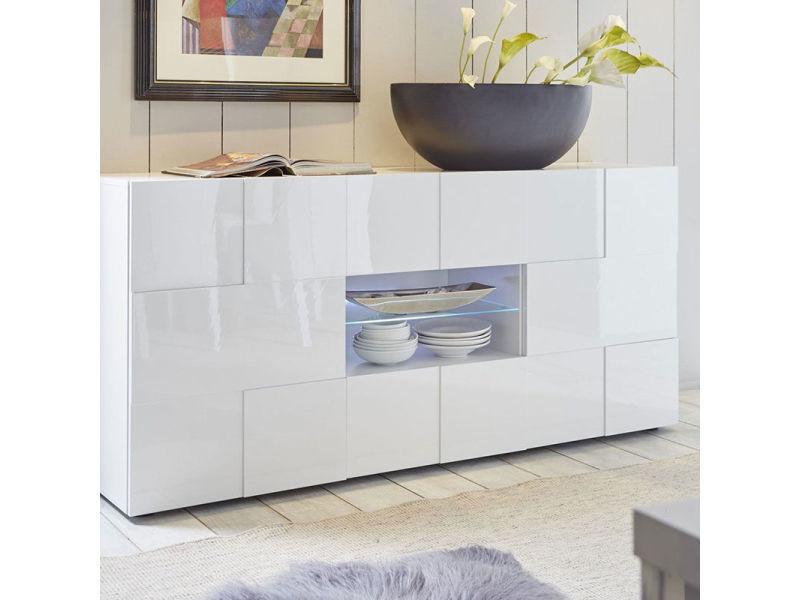 Buffet 2 portes 2 tiroirs blanc laqué design sandrea - Vente de Buffet,  bahut, vaisselier - Conforama 33e0142795de