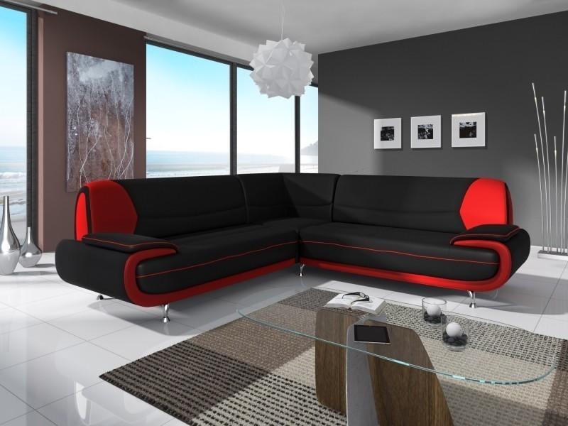 canape dangle design noir  rouge marita xl conforama