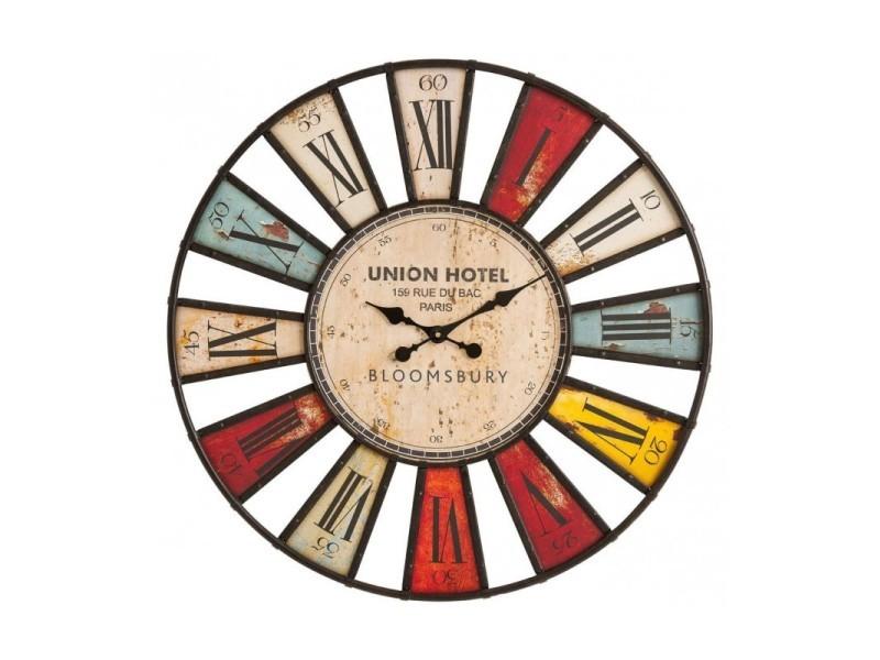 Horloge Murale Bois Et Fer Originale Multicolore Bloomsbury 80 Cm