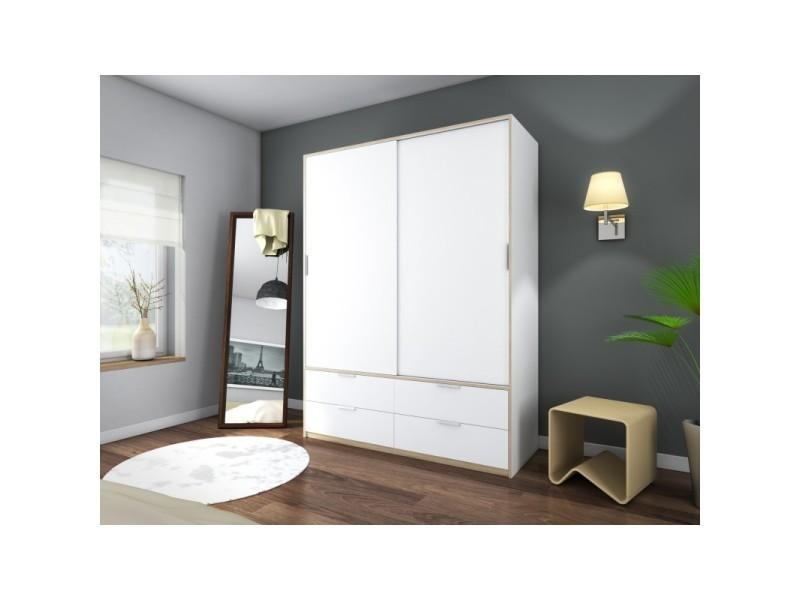 Armoire 2 portes coulissantes 4 tiroirs 140 cm blanc et ...