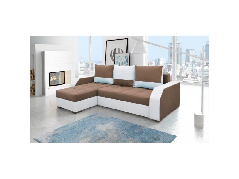 Canapé d'angle convertible réversible design aris - tissu marron et blanc / pu blanc