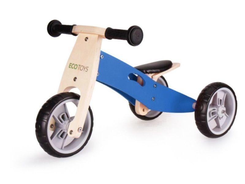 Mstore - tricycle draisienne en bois 2en1 enfant - à partir de 3 ans - roues eva 12 pouces - cadre en bois - bleu