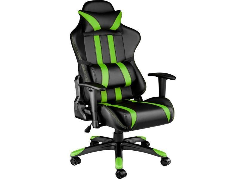 Fauteuil de bureau chaise siège sport gamer avec coussin de tête et lombaires noir/vert helloshop26 0508057