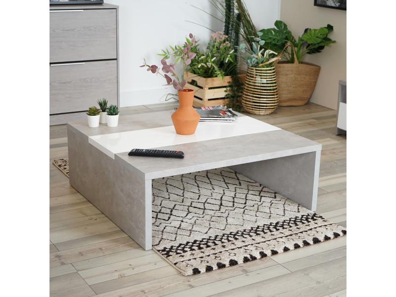 Meubles cosy table basse design en béton et blanc brillant muffin
