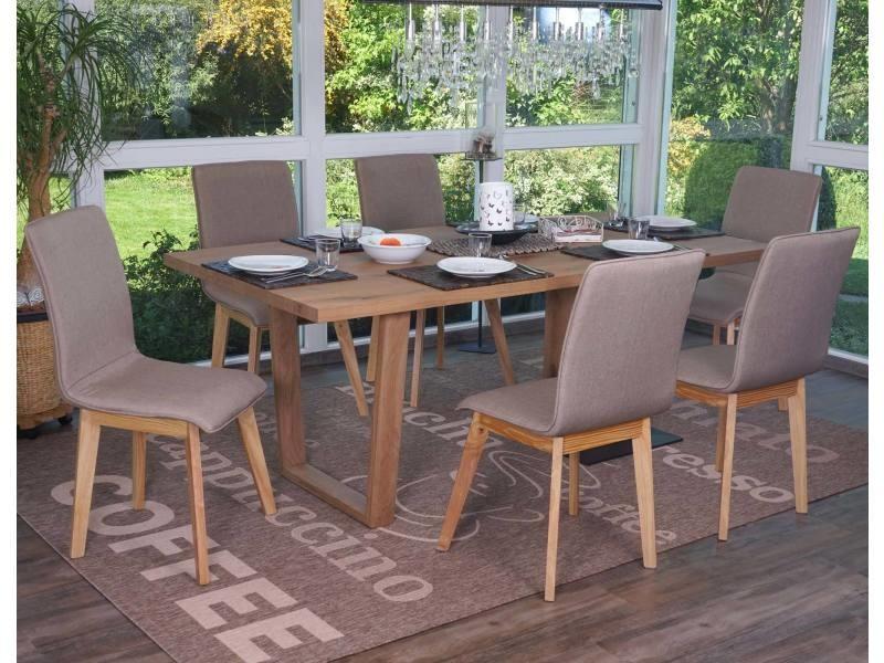 6x chaise de salle à manger zadar, fauteuil, design rétro des années 50, tissu ~ marron avec couture