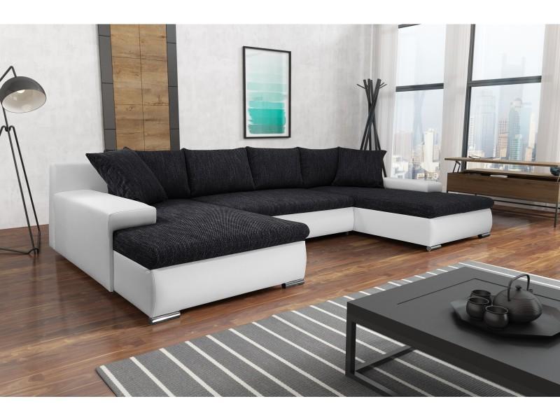 Canapé panoramique convertible korse noir blanc