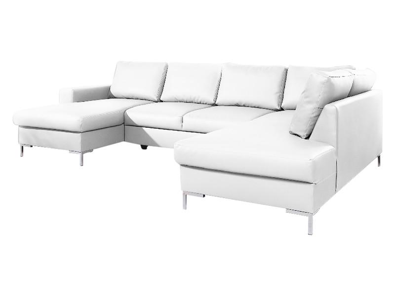 Canapé d'angle panoramique droit convertible coffre lilly simili blanc 5906874136843