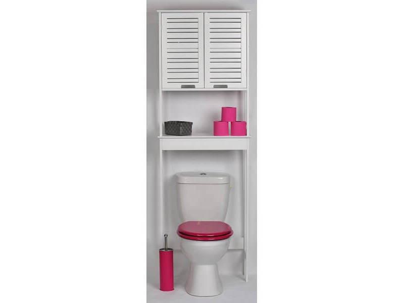 Meuble dessus wc 2 portes miami vente de meuble et rangement conforama - Meuble rangement wc conforama ...