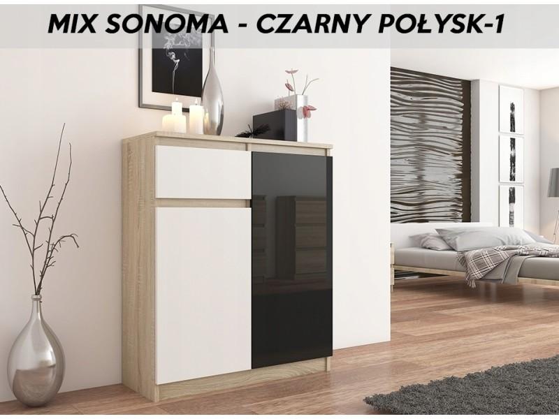 Moscow s3 |buffet moderne salle à manger 98x80x40 cm | commode contemporaine chambre salon bureau | meuble de rangement | sonoma/blanc/noir laqué