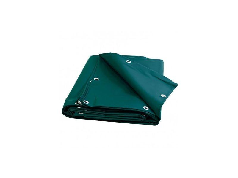 Bâche charpente 10 x 15 m verte 680 g/m2 pvc haute qualité