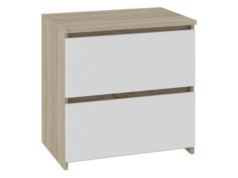 Shala - table de chevet contemporaine chambre 40x40x35 cm - 2 tiroirs larges + chants abs - chiffonier - design moderne - sonoma/blanc
