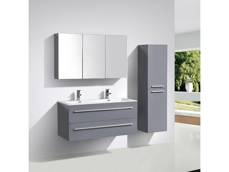 Armoire de toilette bloc miroir siena largeur 120 cm gris - Miroir salle de bain conforama ...