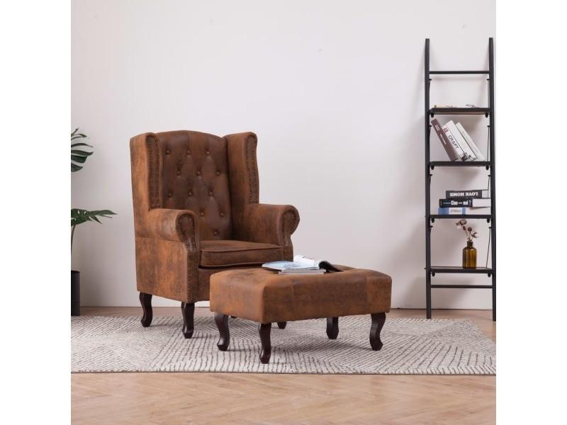 Distingué fauteuils et chaises gamme paramaribo fauteuil chesterfield et repose-pieds marron similicuir daim