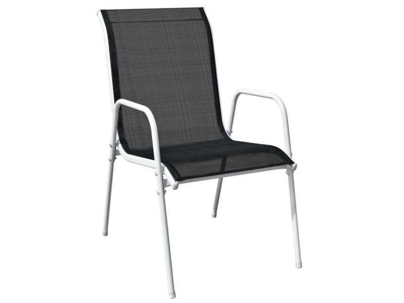 Vidaxl chaises empilables de jardin 4 pcs acier et textilène noir