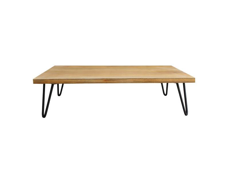 Pied De Table Epingle.Table Basse Bois Manguier Pieds Epingle Metal Vibes Vente