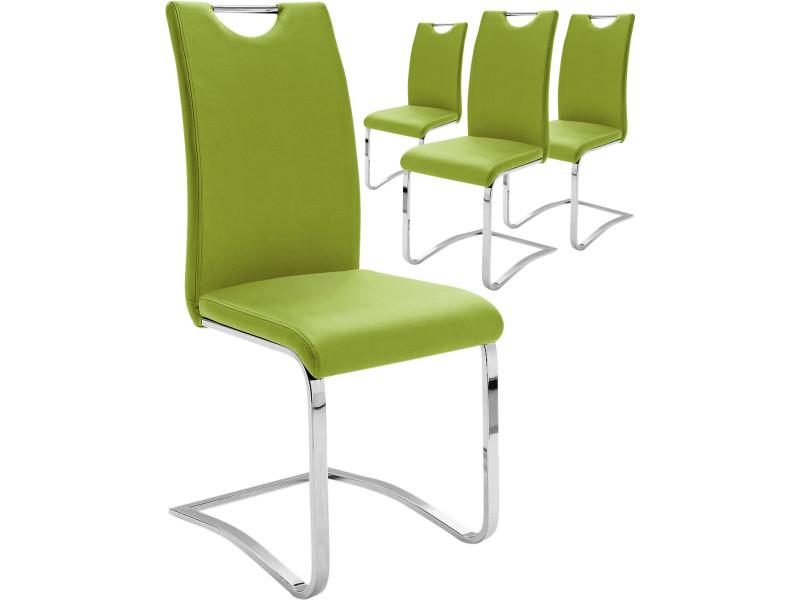 Lot De 4 Chaises Vert Pomme Design En Polyester Avec Pitement Acier Chrom