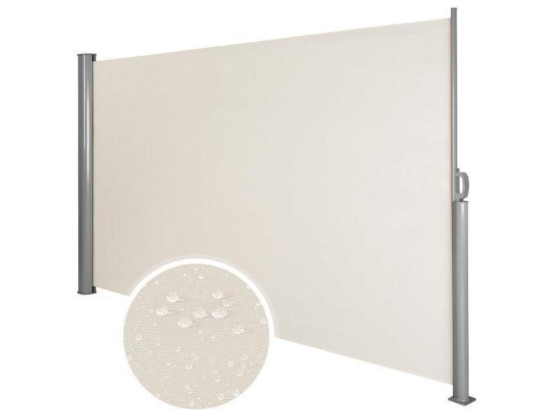 Auvent store latéral brise-vue abri soleil aluminium rétractable 180 x 300 cm beige helloshop26 2208015