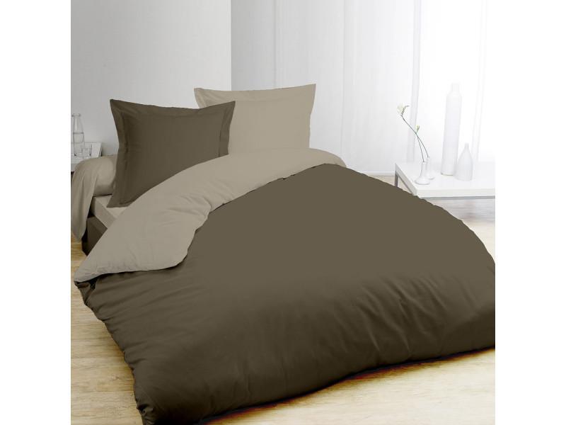 Housse de couette bicolore marron foncé et taupe 240x220cm + 2 taies 7OAKS15041HC3