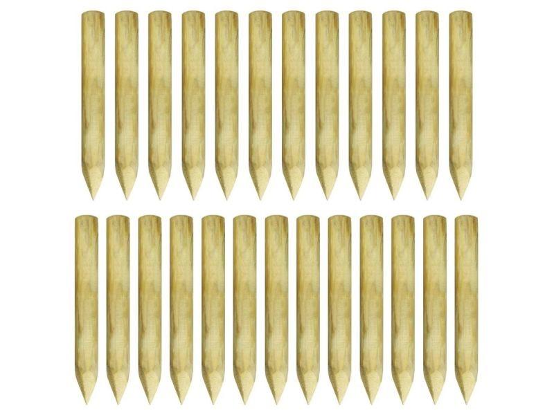 Icaverne - poteaux et traverses de clôture categorie poteaux de clôture pointus 25 pcs pin imprégné fsc 5 x 40 cm