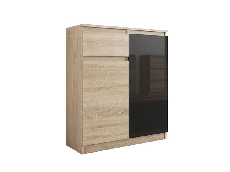 Moscow s1 | buffet moderne salle à manger 98x80x40 cm | commode contemporaine chambre salon bureau | meuble de rangement | sonoma/noir laqué