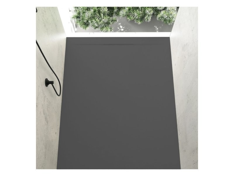 Receveur de douche 80 x 110 cm extra plat cover en résine surface ardoisée anthracite