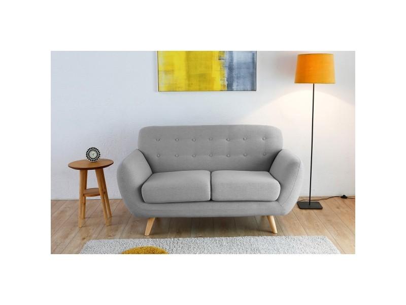 Le folke   canapé scandinave 2 places gris clair 212565 - Vente de Canapé  droit - Conforama d1deb4c2a235