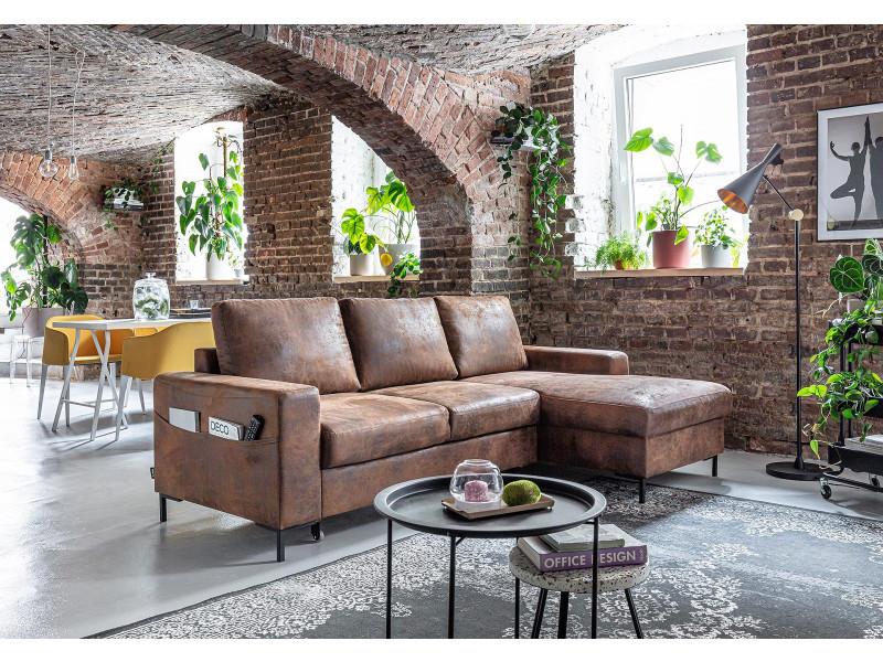 Bobochic lilly - canapé d'angle convertible - avec coffre - 4 places - industriel vintage - droit couleur - marron