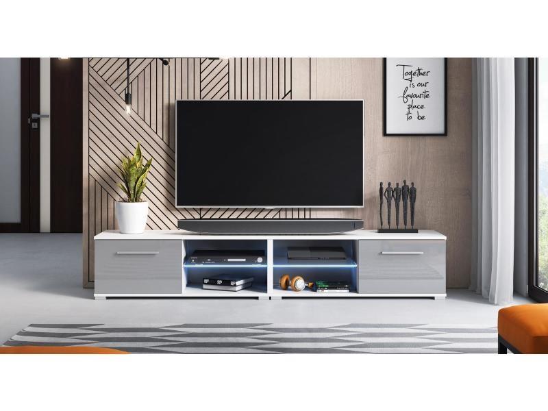 Meuble tv magnum (200 cm) couleur blanc et gris brillant avec l'éclairage à la led