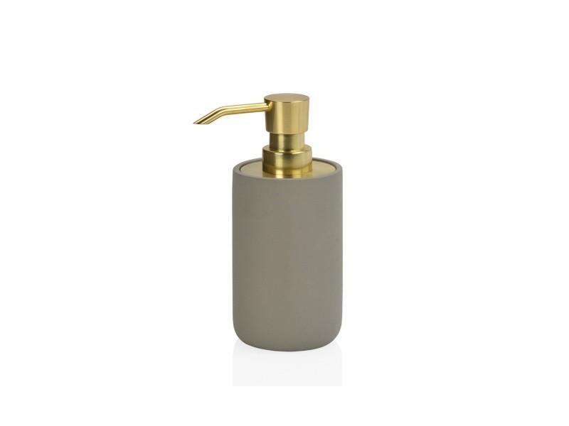 Distributeur de savon en ciment gris et métal doré