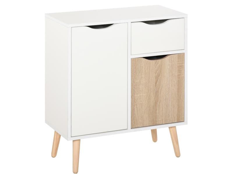 Meuble de rangement design scandinave 2 placards tiroir coulissant pieds bois massif pin panneaux particules blanc chêne clair