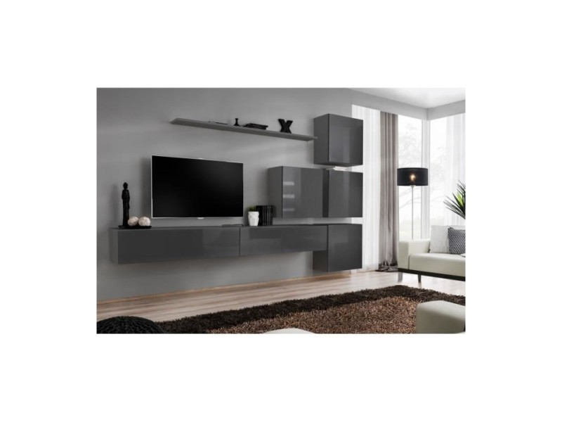 Meuble tv mural switch ix design, coloris gris brillant.