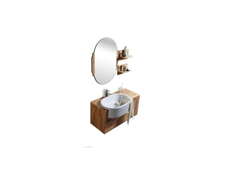 vasque et sous vasque Meuble de salle de bain : vasque, meuble sous-vasque, étagères et miroir