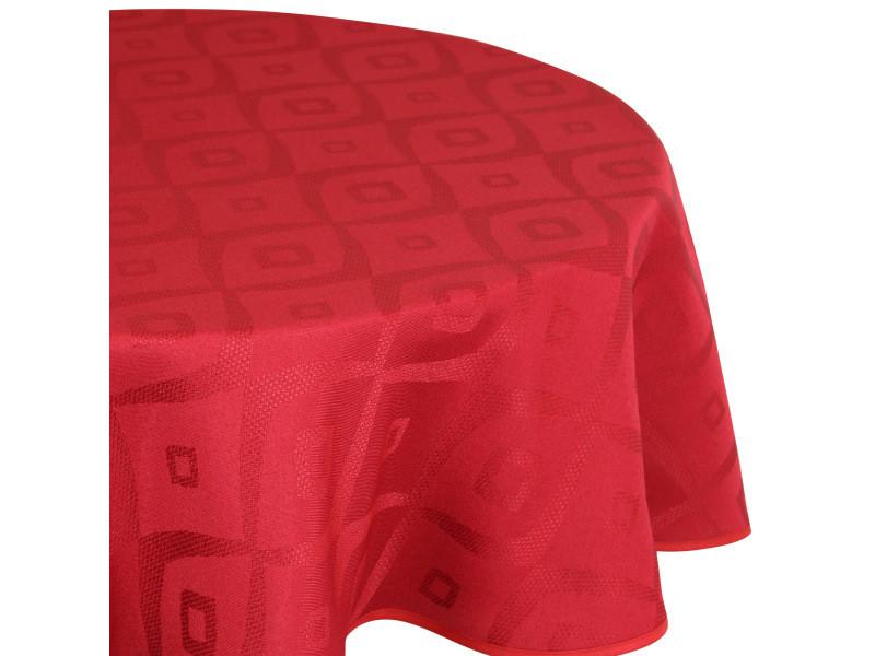 Nappe ronde 180 cm jacquard 100% polyester brunch rouge