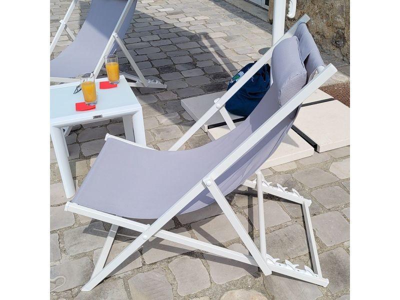 Transat textilene amazing bain de soleil transat bleu p for Transat conforama