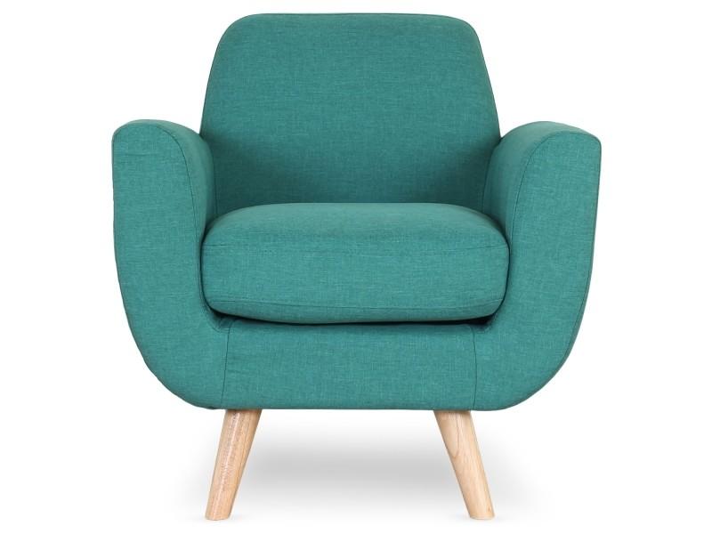 Fauteuil scandinave danube tissu bleu vert vente de for Fauteuil scandinave conforama
