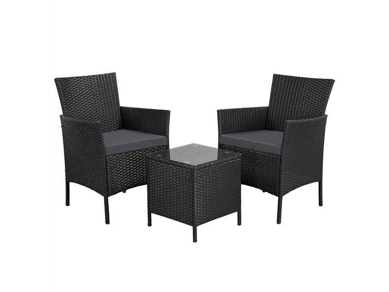 Yaheetech ensemble salon de jardin 2 fauteuils et table basse plateau verre 2 coussins tressée noir/girs