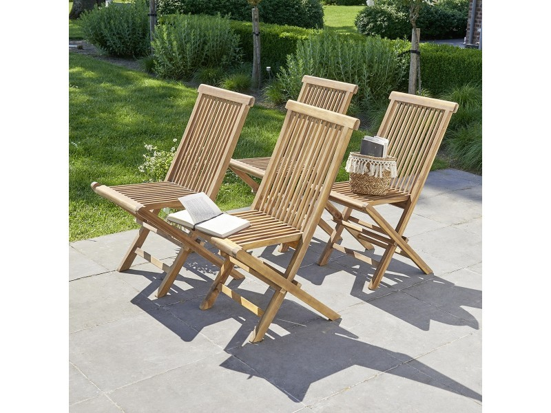 Chaise de jardin pliantes en teck huilé (lot de 4)