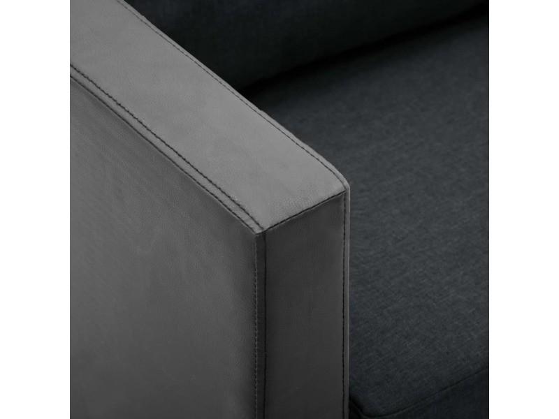 Icaverne - canapés ligne canapé à 3 places simili-cuir noir et gris foncé