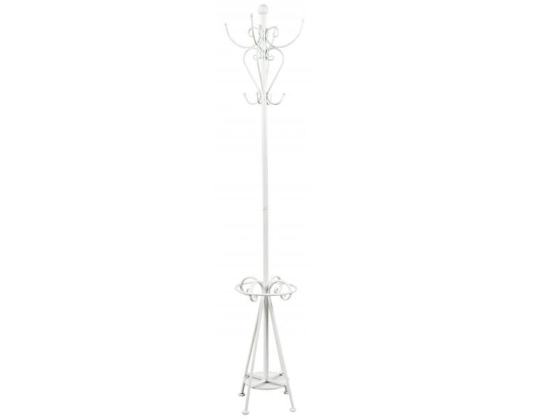 Porte-manteau en métal laqué blanc - 30 x 30 x 190 cm -pegane-