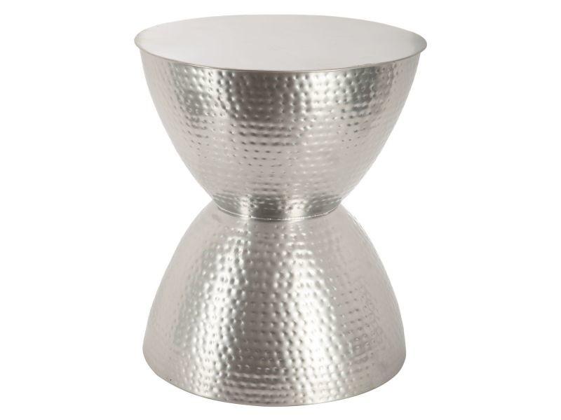 Table d\'appoint hanae - métal - diam. 37 cm - argent - Vente ...
