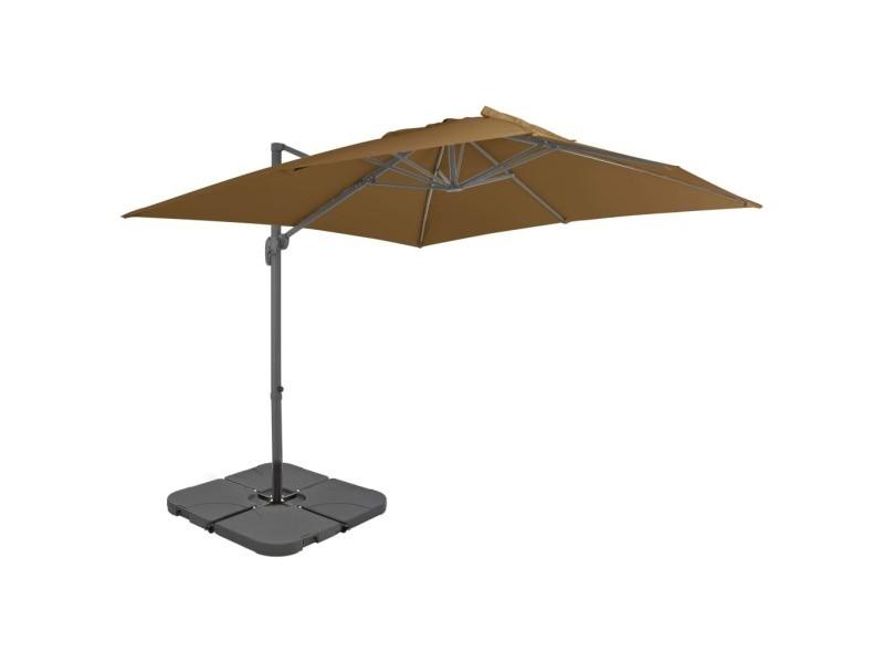 Vidaxl parasol avec base portable taupe 276348