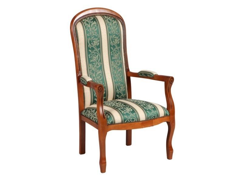 Fauteuil voltaire motifs fleurs vert george l 61 x l 70 x h 112 neuf - Vente fauteuil voltaire ...