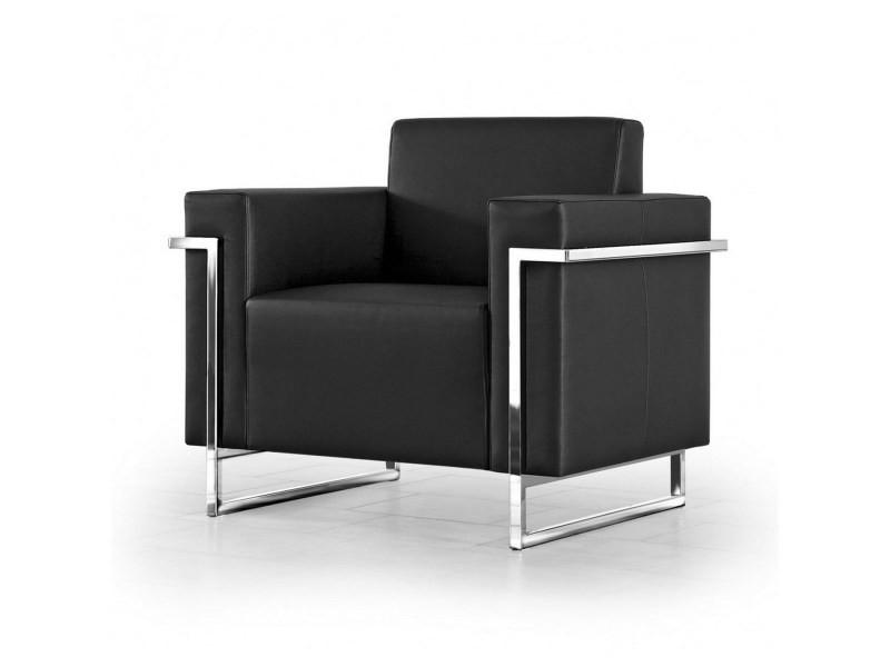 Fauteuil cubique design honors cuir noir et chrome brillant