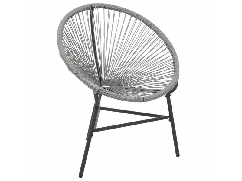 Vidaxl chaise de jardin sous forme de lune résine tressée gris 44481