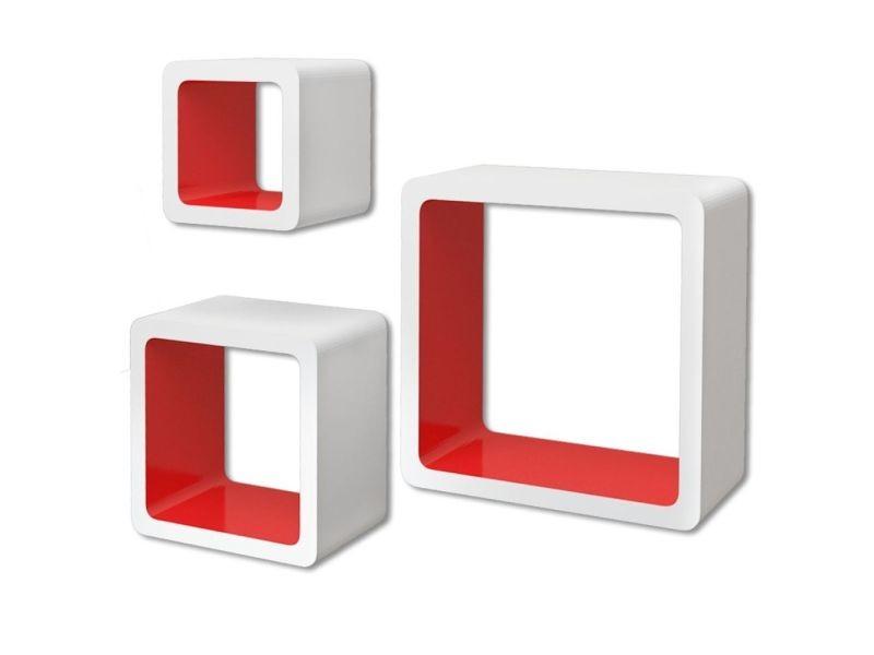 Vidaxl 3 etagères cubes murales et en mdf blanc-rouge pour livres/dvd 242170