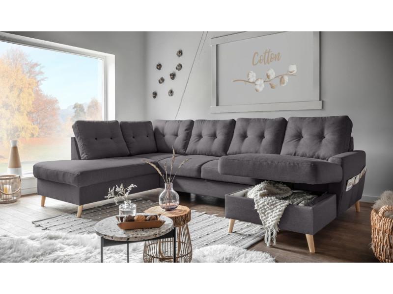 oslo canap panoramique convertible angle gauche gris fonc 290x87x198 149cm vente de. Black Bedroom Furniture Sets. Home Design Ideas